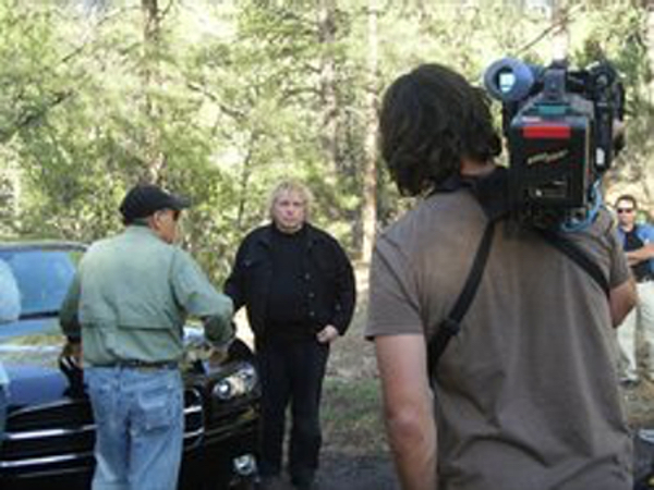 Photo of Timothy Beckley on the set of UFO Hunters with Bill Birnes..