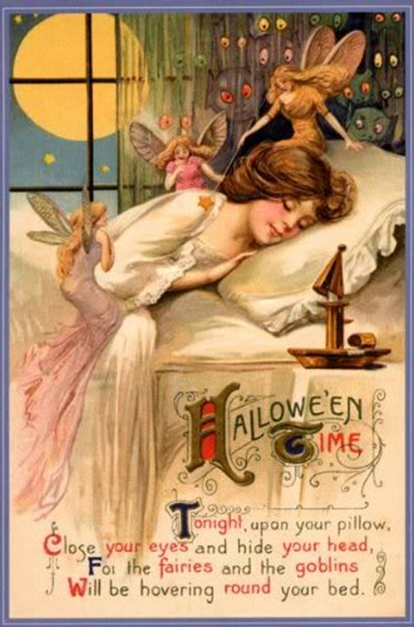 A pretty postcard vision of Halloween, with fairies dancing around a little sleeping girl.