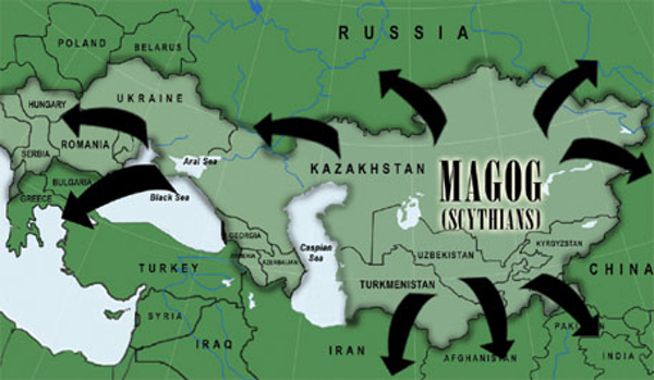 Map of ancient Europe indicating the incursions of the Magog.
