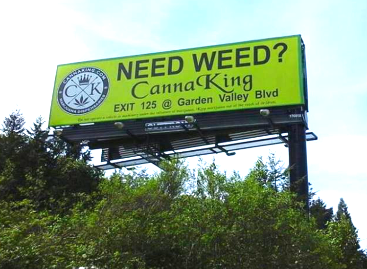 Photo of a billboard in Colorado saying Need Weed?